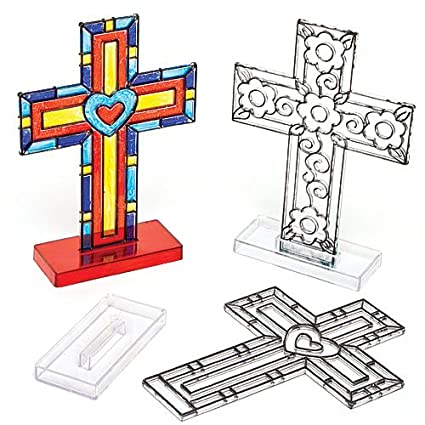 amazon com cross stand up suncatchers for children to color in