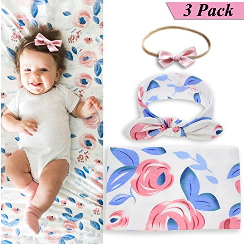 - Newborn Baby Swaddle Blanket and Bow Headband Set for Girls,Baby Girls Receiving Blankets,Baby Shower Gift (Blue)