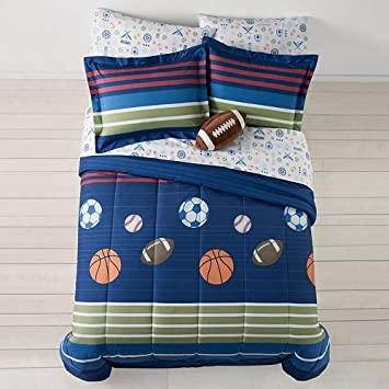 MVP Sports Boys Baseball Basketball Football Twin Comforter Set 5 Piece Bed In