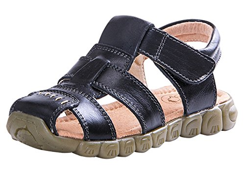 Happy Cherry Run Leather Infant/Toddler Jude Magic Sticker Sandals Size 9.5 Black