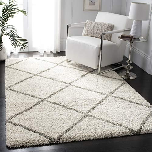 Safavieh Hudson Shag Collection SGH281A Ivory and Grey Moroccan Diamond Trellis Area Rug (4' x 6') (Rugs Foam Living For Room Memory)
