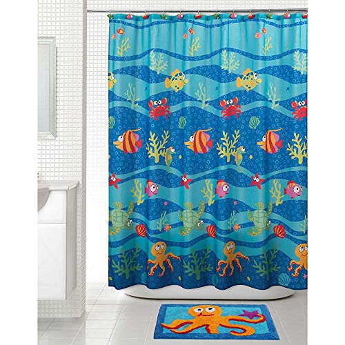 Allure Home Creation Shower Curtain - Fish Tails Set for Kids, 70x72 Inches Colorful Fabric Shower Curtain with 12 Hooks and Rug Mat Set