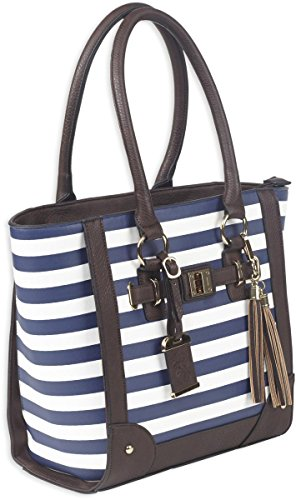 Bulldog Cases Tote Style Concealed Carry Purse with Holster, Navy Stripe (Handgun Conceal Carry Case)