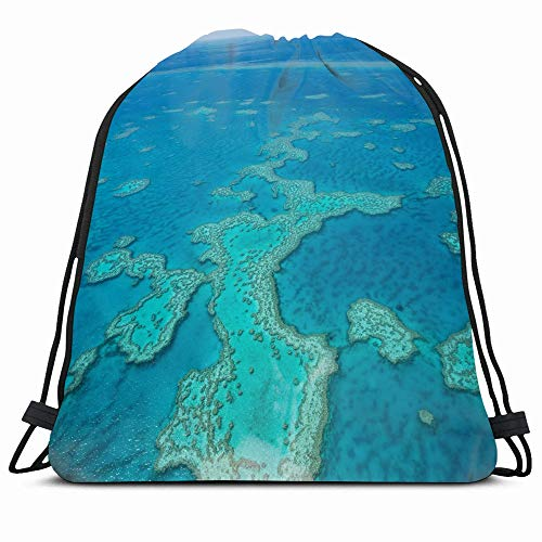 Ahawoso Drawstring Backpack String Bag 14X16 Blue Australian Great Barrier Reef Above East Coast View Nature Parks Aerial Australia Whitehaven Beautiful Sport Gym Sackpack Hiking Yoga Travel Beach (Best Time To Travel East Coast Australia)