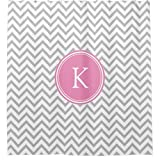 Pink and Gray Chevron Shower Curtain Pink and Gray Chevron Stripes Monogrammed Shower Curtain