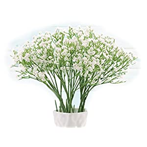 Baby Breath, Gypsophila Artificial Fake Silk Plants, Real Touch Flowers DIY Home Garden for Wedding Party Decoration, Idea Present for Mother's Day (White), 10Pcs