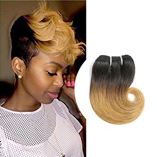 "Beauty : Ombre 1B 27 Human Hair Re4U Short Body Wave Bundles Two Tone Brazilian Hair 6"" 25g"