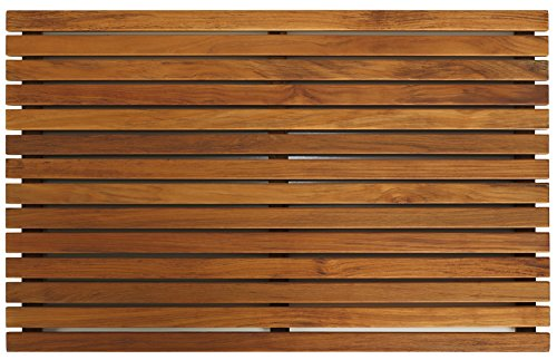 hower or Door Mat in Solid Teak Wood and Oiled Finish, 31.5 by 19.5-Inch (Zen Bath)