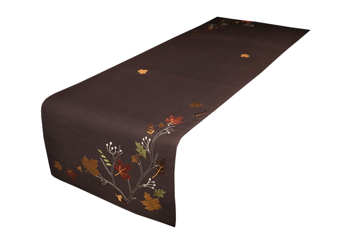 Xia Home Fashions XD17147 Autumn Branches Embroidered Fall Table Runner, 16 by 54-Inch, Coffee
