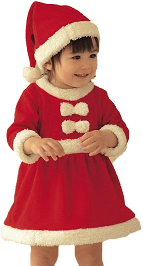 Christmas 1st Party Baby Girl Fancy Dress Outfit Velour Santa Costume 0-3 Months