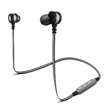Distinct® Audífonos magnéticos Bluetooth V4.2 Auriculares con Ranura para Tarjeta TF Auriculares inalámbricos estéreo en Auriculares Deportivos de oído ...