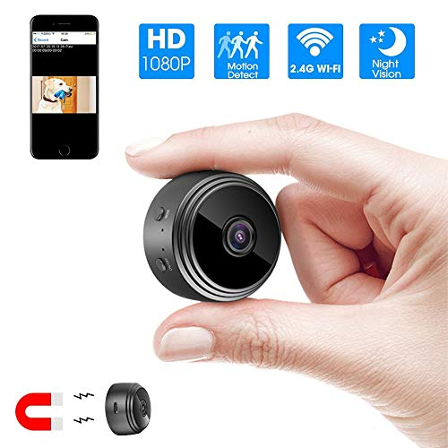Hidden Camera WiFi Mini Camera,HD 1080P Mini Wireless Nanny Cam-Magnetic Camera-Security Camera for Home Built-in Battery with Motion Detection/Night Vision for iPhone/Android Phone/iPad/PC (Black)