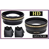 2Pc Kit HD Wide Angle & Telephoto Lens Set for Sony Alpha A6000 ILCE-6000 NEX-3N (40.5mm Compatible)