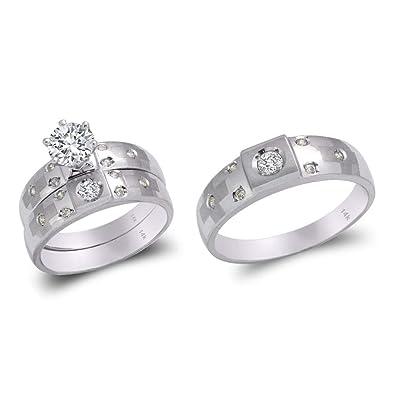 Amazon.com: TOUSIATTAR Juego de anillos de trío de oro ...