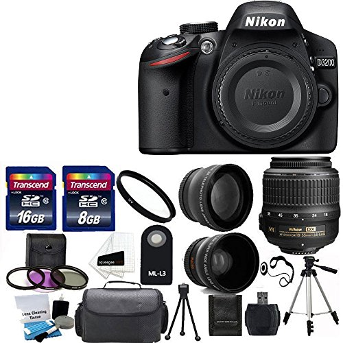 Nikon D3200 24.2 MP CMOS Digital SLR Camera with 18-55mm f/3.5-5.6G VR Zoom Lens + 2x Professional Lens +HD Wide Angle Lens + UV Filter Kit with 24GB Deluxe Accessory Bundle (Certified Refurbished)