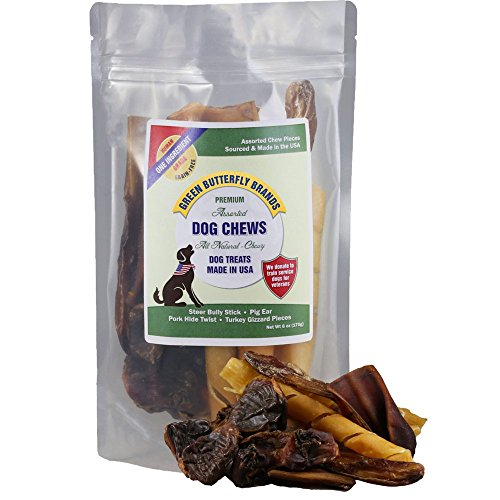 Green Butterfly Brands Assorted Dog Chews – All Natural, Chewy Dog Treats Made in USA – Pig Ear, Bully Stick, Pork Hide Twist Pieces & Turkey Gizzard Assortment Pack – One Ingredient Chews - Dogs Love