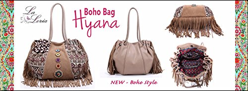 """La Loria esclusiva donna borsa stile boho """"Hyana"""" tasca bohemian, borse a spalla, borse a tracolla, borse tote - marrone"""