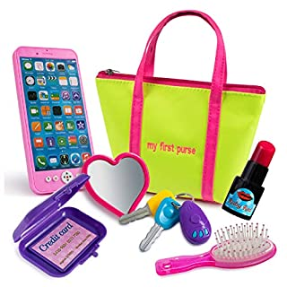 Kiddofun My First Purse - Kids Pretend Toy Hand Bag Includes Play Phone Keys Mirror Hairbrush Wallet Credit Card Lipstick - Great Gift Set for Girls, Boys, Toddlers & Preschools