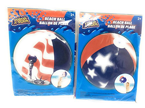 (Splash-N-Swim American Patriotic USA Flag United States of America Inflatable Lake Pool Beach Balls, 20 in.(Set of 2))