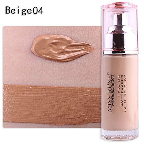 MISS ROSE Liquid Foundation Face Color Waterproof Concealer Coverage Makeup Base Moisturizing Concealer