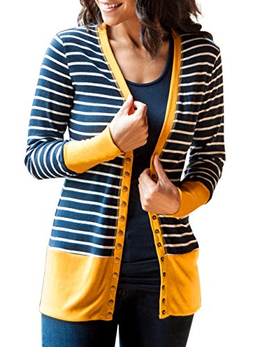 MEROKEETY Womens Long Sleeve Striped Snap Button Down Contrast Color V Neck Cardigans
