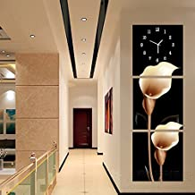 CGGHY 40 * 40 Cm Modern Living Room Entrance No Frame Painting Clock Vertical Hanging Corridor Triple Ice Crystal Glass Art Wall Clock Tulip 25Mm Thick Plate Leather Film Gold Calla Lily