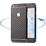 Supstar Luxury Carbon Fibre Full Body Skin Sticker Wrap Covered Edges Vinyl Decal Screen Protector Film for Apple iPhone 6 (Black)