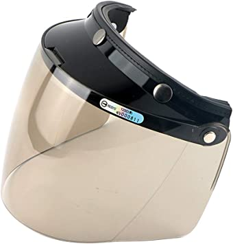 Wancar Motorcycle Retro Flip Up Visor Wind Face Shield Lens Universal For Standard 3-Snap Button Open Face Helmets Clear
