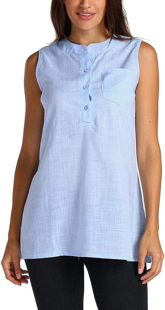 BIRAN-5 Mujer Camisas Fashion Casual Chic Pin-Up Tops Tank Verano Único Sin Mangas Camiseta Color Sólido Con Bolsillos Botonadura Shirts Tops (Color : Blau, Size : 3XL): Amazon.es: Ropa y accesorios