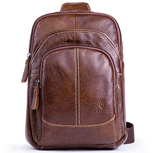 (Genuine Leather Shoulder Sling Backpack Bag Unisex Outdoor Crossbody Sling Pack Sport Daypack)