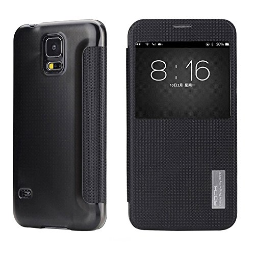 Luxury Genuine Leather Protective Cover with S-view for Samsung Galaxy S5 I9600 (Black)