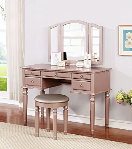 BOBKONA F4060 PDEX-F4060 Croix Collection Vanity Set with Stool, Rose Gold