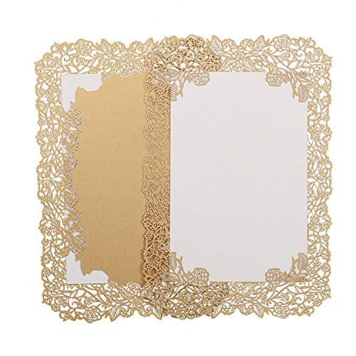 60pcs Laser Cut Wedding Invitations Cards with Lace Flowers Engagement Birthday Bridal Shower Baby Shower Graduation Invitation Cardstock Party Favors ()