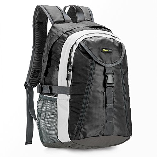 Daypack | Evecase® 20L Wasserabweisend Outdoor Rucksack mit Ultra-leicht Material, Getränketasche, Multifunktionsgurte - Schwarz