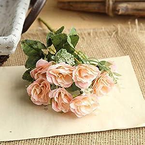 Fine 8 Heads Artificial Fake Peony Silk Flower Bridal Hydrangea Home Wedding Decor (Pink) 69