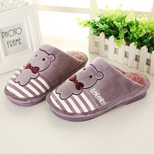 LaxBa Glisser sur lhiver au chaud en Fausse Fourrure Chaussons Chaussures pour hommes neige bordée d38-39 violet (pour 37-38 pieds)