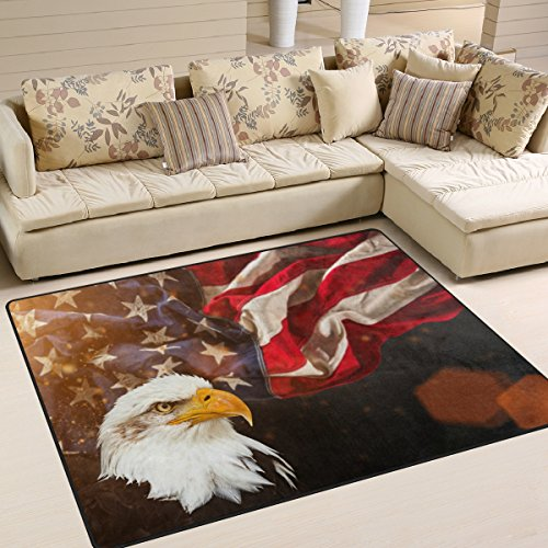 Naanle American Flag and Eagle Area Rug 5'x7', Star and Stripe Polyester Area Rug Mat for Living Dining Dorm Room Bedroom Home Decorative - Polyester Stripes Rug
