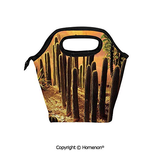 Insulated Neoprene Soft Lunch Bag Tote Handbag lunchbox,3d prited with Sunset in Wild Nature Hot Desert Botanic Mexican Trees Leaves Sand,For School work Office Kids Lunch Box & Food Container