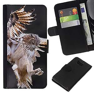 KLONGSHOP // Tirón de la caja Cartera de cuero con ranuras para tarjetas - caza del búho depredador vuelo naturaleza animal - Samsung ALPHA G850 //
