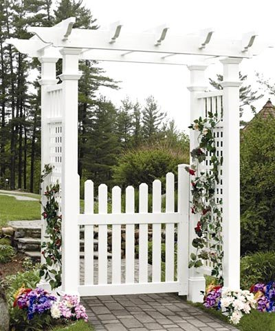 New England Fairfield Arbor with Trim and (Vinyl Arbor Gate)