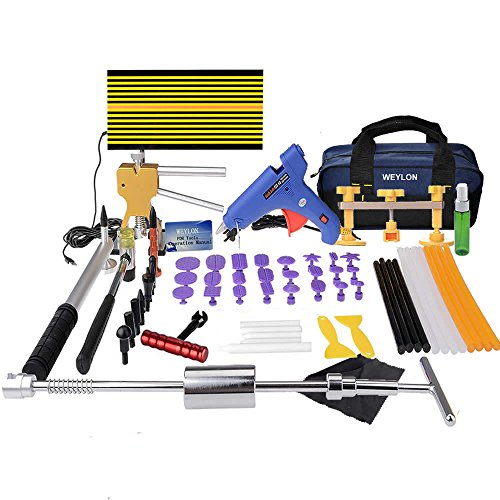Weylon Paintless Dent Repair Pdr Dent Puller Kit Slide Hammer Kits Hail Repair Kit Medium Dent Repair PDR Kit (53pcs) by Weylon