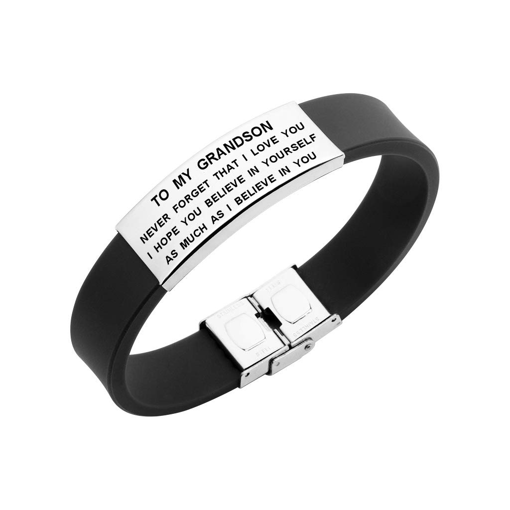 to My Grandson Bracelet Never Forget That I Love You Courage Quotes Boys Jewelry (Black)