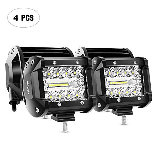 Lightfox 8Pcs 18W 4Inch CREE Flood LED Light Bar