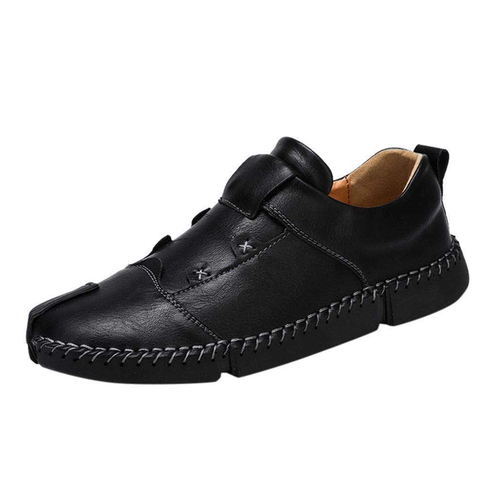 Men's Stitching Leather Shoes Slip On Leather Shoes Fashion Slippers Casual Slip on Walking Loafers Shoes by Lowprofile Black