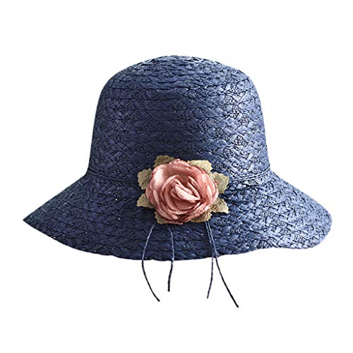 Jianekolaa Women Wide Brim Sun Hat Summer Beach Cap UPF50 UV Packable Straw Hat for Travel Navy