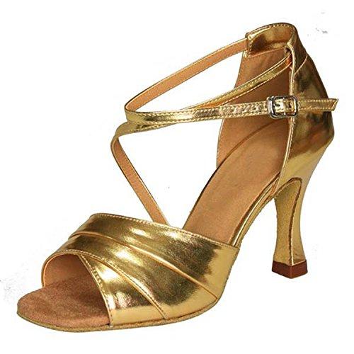 YFF Tango LEIT Latine Chaussures Danse 5cm Danse Femmes 34 Golden Cadeaux 8 Dance Dance dfqnYZf8w