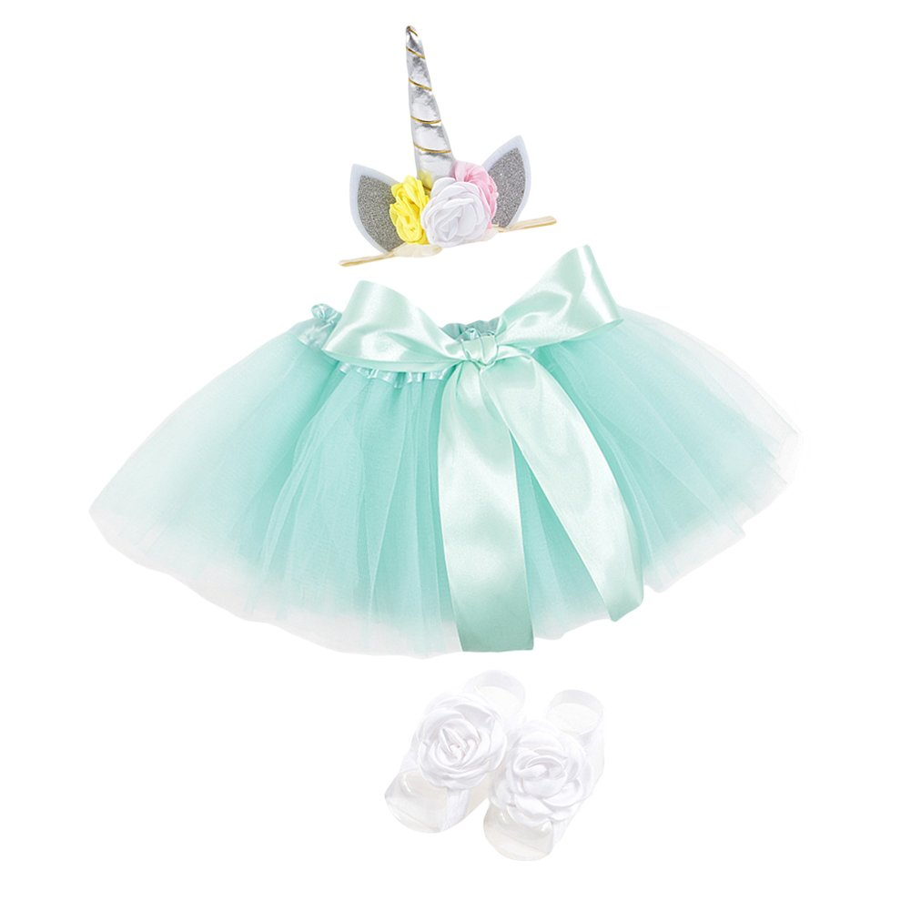 YOHA Baby Girls Unicorn Hairbow Tulle TUTU Dress Toddler Girls Barefoot Sandals Aqua) unitutuaqua