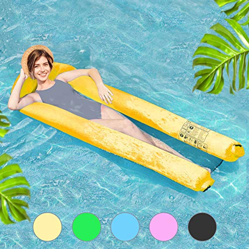 Henkelion Inflatable Adult Pool Floats, [2019 Upgraded] Funny Pool Floating Lounger Chair for Kids Adults with Carry Bag | Fast Inflated No Pump Needed | Swimming Pool Floaties Air Sofa - Yellow