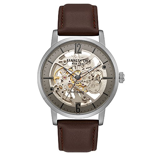 Kenneth Cole New York Men's Stainless Steel Automatic-self-Wind Watch with Leather Strap, Brown, 22 (Model: KC50054001