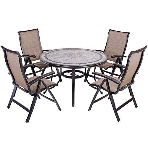 dali 5 Piece Outdoor Dining Set Patio Furniture, Aluminum Folding Chair Sling Chair Set with 46 inch Round Mosaic Tile Top Aluminum - Set 46 Dinner Piece